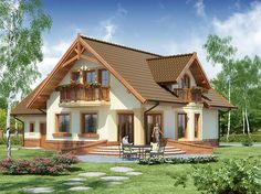 projekt Gracjan What is Art ? Style At Home, Residential Architecture, Architecture Design, Roof Design, House Design, Building Facade, Home Design Plans, Small House Plans, Simple House