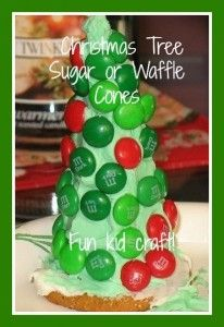 adorable Christmas Tree Kids Craft (Made with a  Sugar cone on top of a cookie, frosting, and candy decorations)