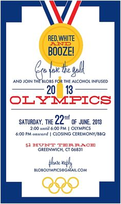 We went for the gold with this Olympics themed invite for a boozy backyard party I Custom by Nico and Lala