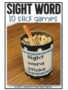sight word sticks games, sight word games and activities for kindergarten, first grade, second grade and more! You choose the words! Use sight words or spelling words for 10 fun games.