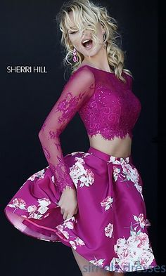 Print Two Piece Long Sleeve Dress by Sherri Hill at SimplyDresses.com