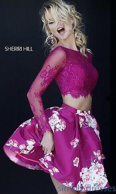 Sherri Hill Print Two Piece Long Sleeve Dress   at SimplyDresses.com