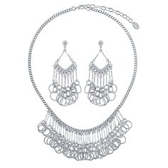 This 2-piece statement jewelry set flaunts linked circles and sophisticated details for an unexpected festive feel. Made of silver-tone brass. Necklace measures 17.5 inch with 3 inch extension in length with 1.5 inch in drop and secures with lobster claw clasp. Earrings measure 2.5 inch in length, 1 inch in width. Posts with butterfly back closures.