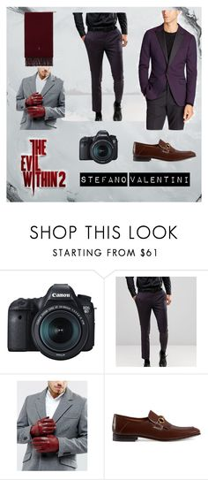 """""""The Evil Within 2   Stefano Valentini"""" by theevilwithin2 ❤ liked on Polyvore featuring Eos, Burton, Bonobos, Barney's Originals, Gucci, Polo Ralph Lauren, TheEvilWithin2, Obscura and StefanoValentini"""