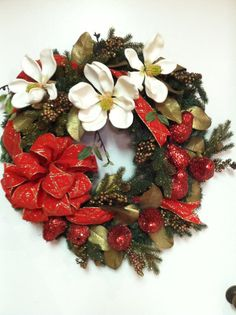 Christmas Wreath, Magnolia Christmas Wreath, Front Door Wreath, Wreath, Magnolia and Fruit Wreath
