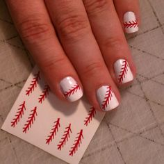 Excellent White Nail Art Design Ideas With Simple Red Decal ...