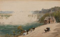 """""""Niagara Falls,"""" Walter Paris, 1900, watercolor on paper, 5 1/2 x 8 3/4"""", private collection. Natural Wonders, American Artists, Niagara Falls, Art Decor, Watercolor, Paris, Fine Art, Painting, Collection"""