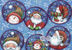 ru / Dimensions - Santa & Snowman ornaments - Stock hamster :))) - f-morgan Cross Stitch Christmas Ornaments, Christmas Embroidery, Christmas Wood, Xmas Ornaments, Christmas Cross, Family Ornament, Cross Stitching, Cross Stitch Embroidery, Cross Stitch Designs