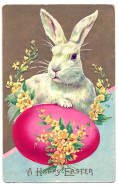 Vintage Easter Clip Art - Big Bunny with Egg - The Graphics Fairy