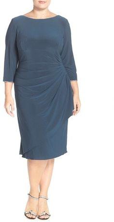 Alex Evenings Embellished Scoop Back Faux Wrap Dress (Plus Size) e30d167b7a9