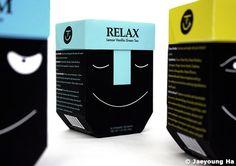 Tea packaging. #tea #packaging #design #face #relax #black #package #illustration #line #white