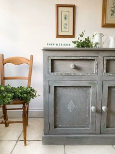 This pine sideboard has been painted in layers of Miss Mustard Seed Milk Paint in Lucketts Green and Boxwood before a coat of Schloss which was then distressed to reveal the green tones peeping through Patterned Furniture, Grey Furniture, Distressed Furniture, Colorful Furniture, Cool Furniture, Painted Furniture, Diy Furniture Projects, Furniture Makeover