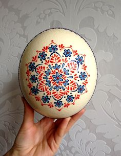 Ostrich Easter Egg decorated with Wax Traditional Slavic Technique, Kraslice, Pysanka by VeryAndVery on Etsy https://www.etsy.com/listing/217696054/ostrich-easter-egg-decorated-with-wax