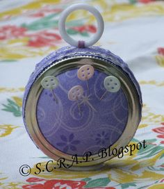 ~ S.C.R.A.P. ~ Scraps Creatively Reused and Recycled Art Projects: How to Make A Double Sided Canning Lid Pin Cushion