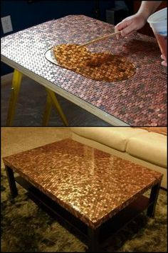 your coffee table a makeover using pennies Do You Have an Old Side Table That Has Seen Better Days? Here's a Fun Way to Revive it!Do You Have an Old Side Table That Has Seen Better Days? Here's a Fun Way to Revive it! Old Furniture, Distressed Furniture, Deco Furniture, Refurbished Furniture, Plywood Furniture, Unique Furniture, Repurposed Furniture, Furniture Projects, Furniture Makeover