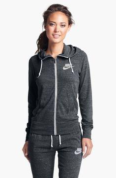 Nike 'Gym Vintage' Zip Front Hoodie in black size medium