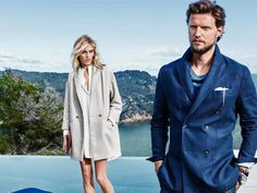 Anja Rubik and her husband Sasha Knezevic pose for fashion brand Massimo Dutti's latest Spring Getaway 2015 campaign wearing a...