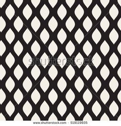 Vector Seamless Black and White Leaf Shape Pattern. Abstract Geometric Background Design.