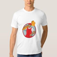 Locksmith Carry Key Circle WPA Shirt. WPA style illustration of a locksmith carrying key on shoulder looking to the side set inside circle on isolated background. #illustration #LocksmithCarryKey