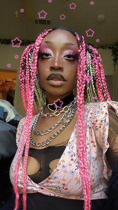 Black Girl Aesthetic, Aesthetic Hair, Aesthetic Makeup, Punk Makeup, Hair Makeup, Black Girl Makeup, Girls Makeup, Afro Punk Fashion, Faux Locks