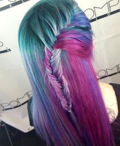 Cool Purple, Green and Pink Long Hairstyles 2016 for Girls