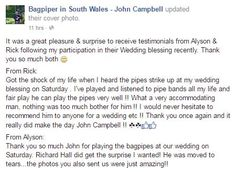 Great Testimonial from a recent #Bride & #Groom :-) #SouthWales #Weddingmusic #Bagpipes #Cardiff