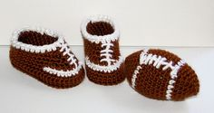 Football booties:  Are you ready for some football? Let your little guy or gal enjoy the game with their own special baby booties and crocheted football toy.  The booties measure 5 inches long, suitable for most children 3 to 6 months old.