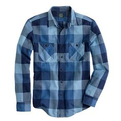 J.Crew - Tall flannel shirt in warm indigo herringbone plaid
