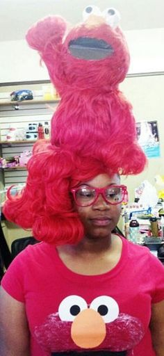 Wtf is this! Committed to the Elmo Look FAIL ---- funny pictures hilarious jokes meme humor walmart fails