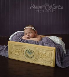Vintage Yellow Wood Drawer - Newborn Photography Prop, Posing Drawer, Basket…