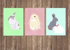 Easter Card/ Rabbit Bunnies Postcard set of by hopnbounce on Etsy