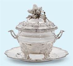 An exquisite Italian silver soup tureen, circa 1780.