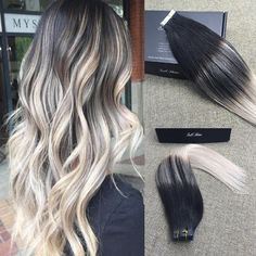 Full Shine Remy Tape Hair Extensions Balayage Ombre Extensions (#1b #18 #60)