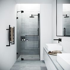 Bring modern luxury and a spacious, spa-like feel to your contemporary bathroom with the VIGO Fixed Glass Shower Screen. Modern bathroom Ideas and Design - Bathroom Inspiration - Bathroom Remodel Bathtub Doors, Frameless Shower Doors, Glass Bathtub Door, Glass Door, Black Shower, Shower Panels, Shower Screens, Glass Shower Enclosures, Bathroom Interior Design