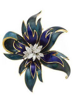 A diamond and enamel flower brooch Cartier designed with blue and green enamel leaves; signed Cartier no. 30953;