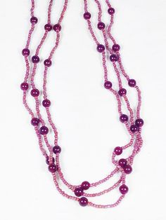 Flapper Length 3Strand Garnet & Seed Bead Necklace Handmade by NorthCoastCottage Jewelry Design