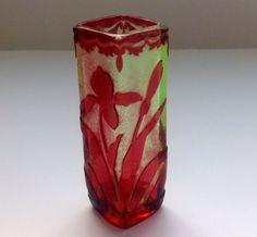 Acid etched Art Nouveau cameo vase designed Baccarat circa 1890.