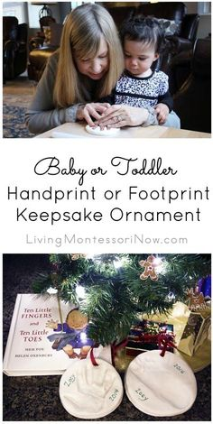 Tutorial for making a sweet baby or toddler handprint or footprint keepsake ornament. There are directions for using a kit or homemade clay - Living Montessori Now #handprint #footprint #Christmas #ornament #keepsake #baby #toddler Toddler Christmas, Christmas Holidays, Christmas Ornaments, Christmas Decorations, Christmas Activities, Christmas Traditions, Winter Activities, Toddler Activities, Toddler Crafts