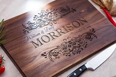 Personalized Cutting Board Engraved Kitchen Home Decor Chopping Wedding Gift Housewarming Anniversary Wood Monogram Custom Cutting Board