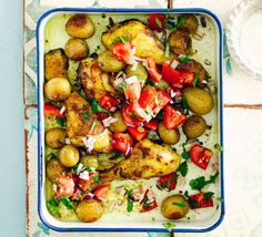 A healthy one-pan traybake with new potatoes, chicken and peppers with garam masala, turmeric, ginger and garlic - lightly spiced and ideal for a family supper Bbc Good Food Recipes, Cooking Recipes, Healthy Recipes, Bbc Recipes, Roast Recipes, Yummy Food, Traybake Dinner, World Recipes, Gastronomia