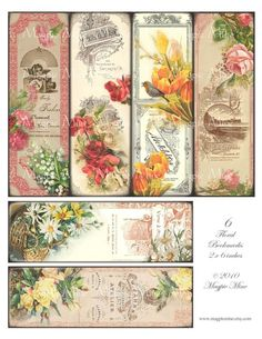 Victorian Floral Bookmarks Instant Download by MagpieMine