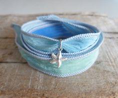 beachcomber yoga by the sea  turquoise silk wrap bracelet by beachcomberhome, $18.00