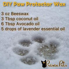 dog paw D. All-Natural Paw Protector During the winter months our dogs paw pads take a beating! Protect them with this easy recipe! Diy Tumblr, Dog Paw Pads, Dog Care Tips, Pet Care, Pet Tips, Dog Food Recipes, Dog Mom, The Balm, Foods