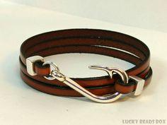 Mens leather bracelet wrap bracelet mens bracelet flat leather