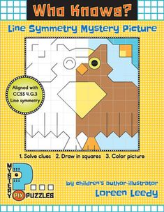 """Who Knows?"" Mystery Picture: when they solve the clues, kids will create this symmetrical owl picture. A great way to combine math + art! Aligns with CCSS Grade 4 Geometry: Math 4.G.3: Line symmetry"