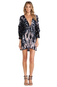 Tiare Hawaii Lily Long Sleeve Mini Dress in Grey & Skin Sabia