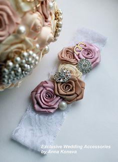 Garter for the bride Dusty pink, champagne, handmade. Wedding garter , garter, Wedding accessories, garters, lace garter, Wedding ideas