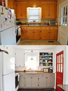 $500 Kitchen Renovation | Beautiful Matters This is exactly the golden color of my kitchen cabinets right now....The almond color looks fantastic - NOW I am excited!!!: