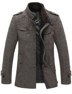 Match Mens Wool Winter Coat Slim Fit Pea Coat(Label size X-Large(US Medium),Coffee-Thin)