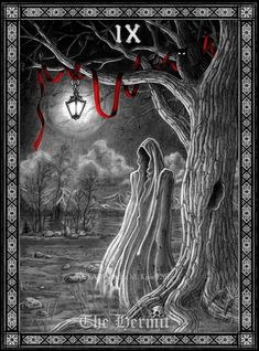 Dressed in monks robes, with a lantern - Lux Occulta - the light of secret knowledge. The barren landscape and the owl - another symbol of knowledge, th. Tarot: The Hermit Pentacle Tattoo, Tarot Tattoo, Iphone Backgrounds Nature, The Hermit Tarot, Owl Tattoo Drawings, The Magician Tarot, Tarot Prediction, Gothic Fantasy Art, Online Tarot